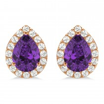 Teardrop Amethyst & Diamond Halo Earrings 14k Rose Gold (1.54ct)