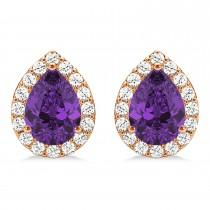 Teardrop Amethyst & Diamond Halo Earrings 14k Rose Gold (1.54ct)
