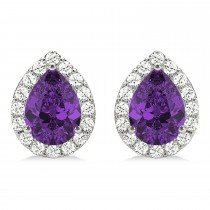 Teardrop Amethyst & Diamond Halo Earrings 14k White Gold (1.54ct)