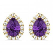 Teardrop Amethyst & Diamond Halo Earrings 14k Yellow Gold (1.54ct)