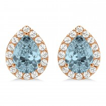 Teardrop Aquamarine & Diamond Halo Earrings 14k Rose Gold (1.54ct)
