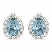 Teardrop Aquamarine & Diamond Halo Earrings 14k White Gold (1.54ct)