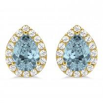Teardrop Aquamarine & Diamond Halo Earrings 14k Yellow Gold (1.54ct)