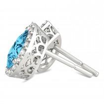 Teardrop Cut Blue & White Diamond Halo Earrings 14k White Gold (1.66ct)|escape