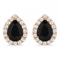 Teardrop Cut Black & White Diamond Halo Earrings 14k Rose Gold (1.66ct)