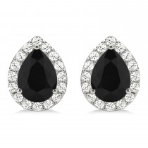 Teardrop Cut Black & White Diamond Halo Earrings 14k White Gold (1.66ct)