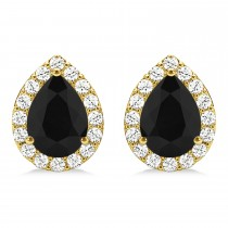 Teardrop Cut Black & White Diamond Halo Earrings 14k Yellow Gold (1.66ct)