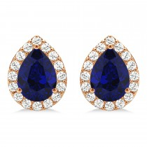 Teardrop Blue Sapphire & Diamond Halo Earrings 14k Rose Gold (1.74ct)