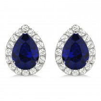 Teardrop Blue Sapphire & Diamond Halo Earrings 14k White Gold (1.74ct)