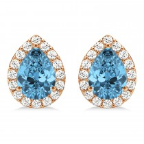 Teardrop Blue Topaz & Diamond Halo Earrings 14k Rose Gold (2.24ct)