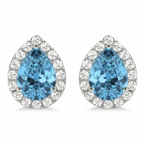 Teardrop Blue Topaz & Diamond Halo Earrings 14k White Gold (2.24ct)
