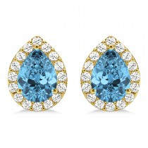 Teardrop Blue Topaz & Diamond Halo Earrings 14k Yellow Gold (2.24ct)