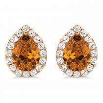 Teardrop Citrine & Diamond Halo Earrings 14k Rose Gold (1.54ct)