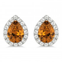 Teardrop Citrine & Diamond Halo Earrings 14k White Gold (1.54ct)