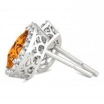 Teardrop Citrine & Diamond Halo Earrings 14k White Gold (1.54ct)|escape