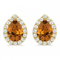 Teardrop Citrine & Diamond Halo Earrings 14k Yellow Gold (1.54ct)