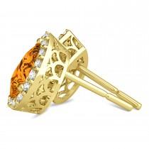 Teardrop Citrine & Diamond Halo Earrings 14k Yellow Gold (1.54ct)