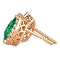 Teardrop Emerald & Diamond Halo Earrings 14k Rose Gold (1.64ct)