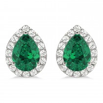 Teardrop Emerald & Diamond Halo Earrings 14k White Gold (1.64ct)