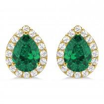 Teardrop Emerald & Diamond Halo Earrings 14k Yellow Gold (1.64ct)