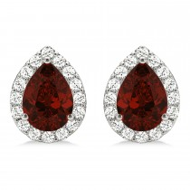 Teardrop Garnet & Diamond Halo Earrings 14k White Gold (2.24ct)