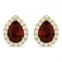 Teardrop Garnet & Diamond Halo Earrings 14k Yellow Gold (2.24ct)