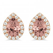 Teardrop Cut Morganite & Diamond Halo Earrings 14k Rose Gold (2.04ct)