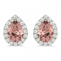 Teardrop Cut Morganite & Diamond Halo Earrings 14k White Gold (2.04ct)