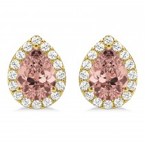 Teardrop Cut Morganite & Diamond Halo Earrings 14k Yellow Gold (2.04ct)