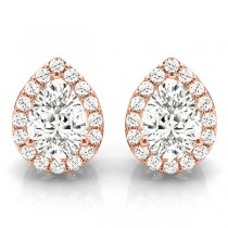 Teardrop Moissanite & Diamond Halo Earrings 14k Rose Gold (1.66ct)