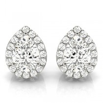 Teardrop Moissanite & Diamond Halo Earrings 14k White Gold (1.66ct)