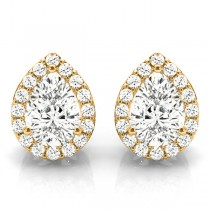 Teardrop Moissanite & Diamond Halo Earrings 14k Yellow Gold (1.66ct)