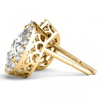 Teardrop Moissanite & Diamond Halo Earrings 14k Yellow Gold (1.66ct)