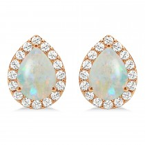 Teardrop Opal & Diamond Halo Earrings 14k Rose Gold (0.94ct)