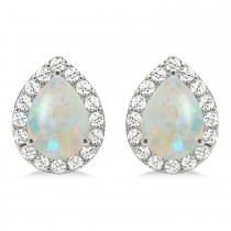 Teardrop Opal & Diamond Halo Earrings 14k White Gold (0.94ct)