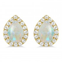 Teardrop Opal & Diamond Halo Earrings 14k Yellow Gold (0.94ct)