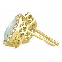 Teardrop Opal & Diamond Halo Earrings 14k Yellow Gold (0.94ct)