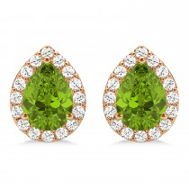 Teardrop Peridot & Diamond Halo Earrings 14k Rose Gold (1.64ct)
