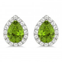 Teardrop Peridot & Diamond Halo Earrings 14k White Gold (1.64ct)