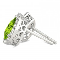 Teardrop Peridot & Diamond Halo Earrings 14k White Gold (1.64ct)|escape