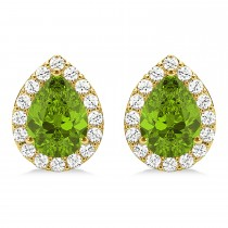 Teardrop Peridot & Diamond Halo Earrings 14k Yellow Gold (1.64ct)