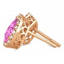 Teardrop Pink Sapphire & Diamond Halo Earrings 14k Rose Gold (1.74ct)