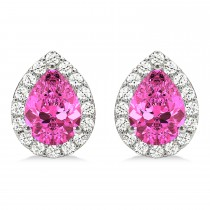Teardrop Pink Sapphire & Diamond Halo Earrings 14k White Gold (1.74ct)