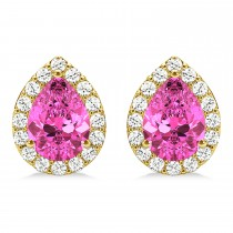 Teardrop Pink Sapphire & Diamond Halo Earrings 14k Yellow Gold (1.74ct)