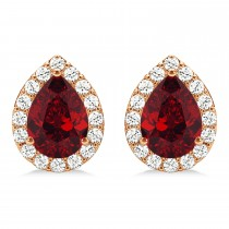 Teardrop Ruby & Diamond Halo Earrings 14k Rose Gold (1.74ct)