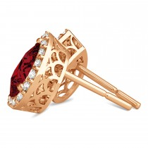 Teardrop Ruby & Diamond Halo Earrings 14k Rose Gold (1.74ct)
