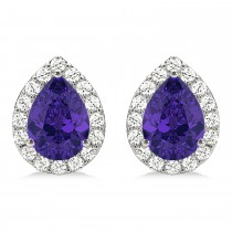 Teardrop Tanzanite & Diamond Halo Earrings 14k White Gold (1.74ct)