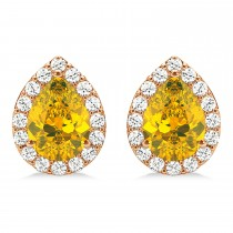 Teardrop Yellow Sapphire & Diamond Halo Earrings 14k Rose Gold (1.74ct)