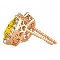 Teardrop Yellow Sapphire & Diamond Halo Earrings 14k Rose Gold (1.74ct)