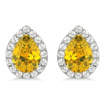 Teardrop Yellow Sapphire & Diamond Halo Earrings 14k White Gold (1.74ct)
